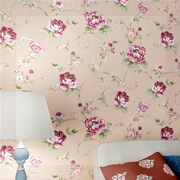 Fashion Modern American Pastoral Wallpaper Bedroom Living Room - Girls flower bedroom wallpaper