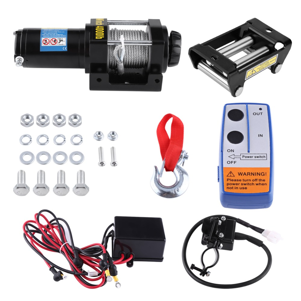4500lb Electric Winch DC 12V Steel Cable Powerful Winch Quad Bike ATV Boat Wincher Tool 4-Way Roller Fairlead Hammer Hook Sets