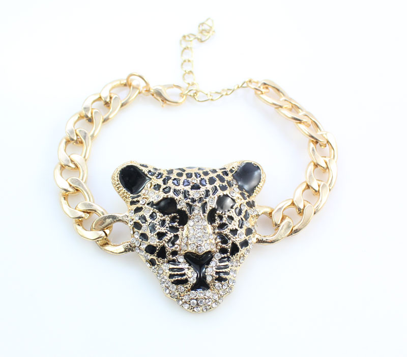 Cool Leopard Head Bracelet Earrings Ring Necklace Set para mujeres - Bisutería - foto 3