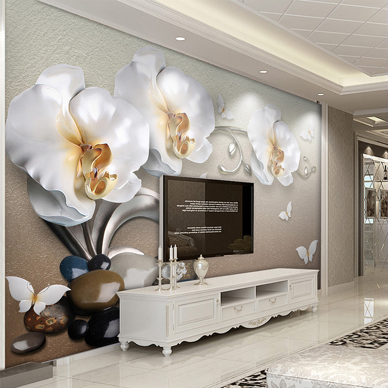 Custom Mural Wallpaper Flower Modern Fashion 3D Stereoscopic Relief  Butterfly Orchid TV Background Wall Decorations Living Room custom 3d mural wallpaper european style stereoscopic relief golden flowers living room sofa bedroom tv background wall display