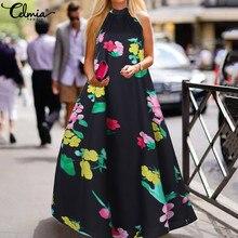 Celmia Women Maxi Sundress Sexy Halter Summer Long Dress Bohemian Floral Print S
