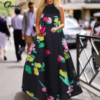 Celmia femmes Maxi Robe d'été Sexy licou longue Robe bohème imprimé florale sans manches décontracté ample à volants robes Robe 5XL