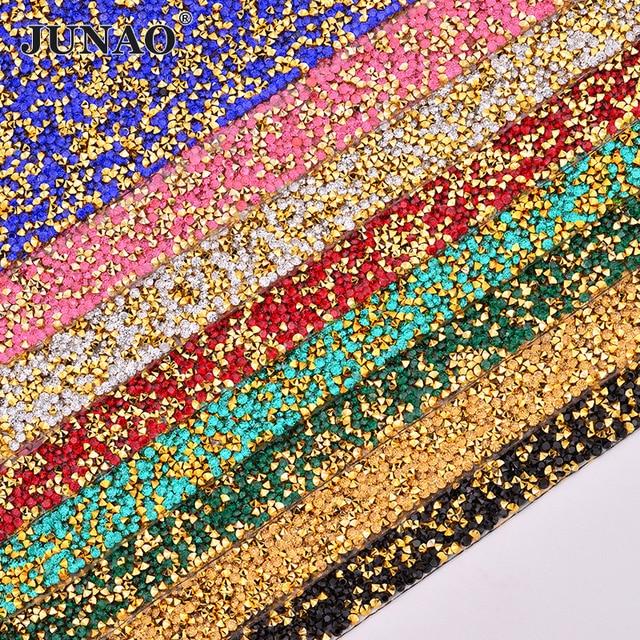 03dee42831 US $13.25 50% OFF|JUNAO 24*40cm Hotfix Colorful Rhinestones Fabric Sheet  Gold Crystal Trim Diamond Mesh Resin Applique Strass Ribbon DIY Crafts-in  ...