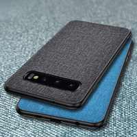 Funda de teléfono de tela de lujo para Samsung Galaxy S10 5G S10e S9 S8 Plus S7 Edge Slim suave parachoques funda de piel dura PC