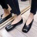 AD AcolorDay 2017 Дешевые Винтаж Площадь Toe Поскользнуться на Обувь для Женщин Бездельников Сплошной Черный Мокасины Женщины Повседневная обувь на Плоской Подошве женщины