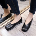 AD AcolorDay 2017 Cheap Vintage Square Toe Slip on Shoes for Women Loafers Solid Black Moccasins Women Casual Flat Shoes Women
