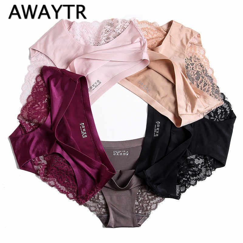 Awaytr Wholesale Women s Sexy Lace Ice Silk Panties Seamless Panty Briefs Underwear  Intimates Panties Women Hot 4bb132ddf