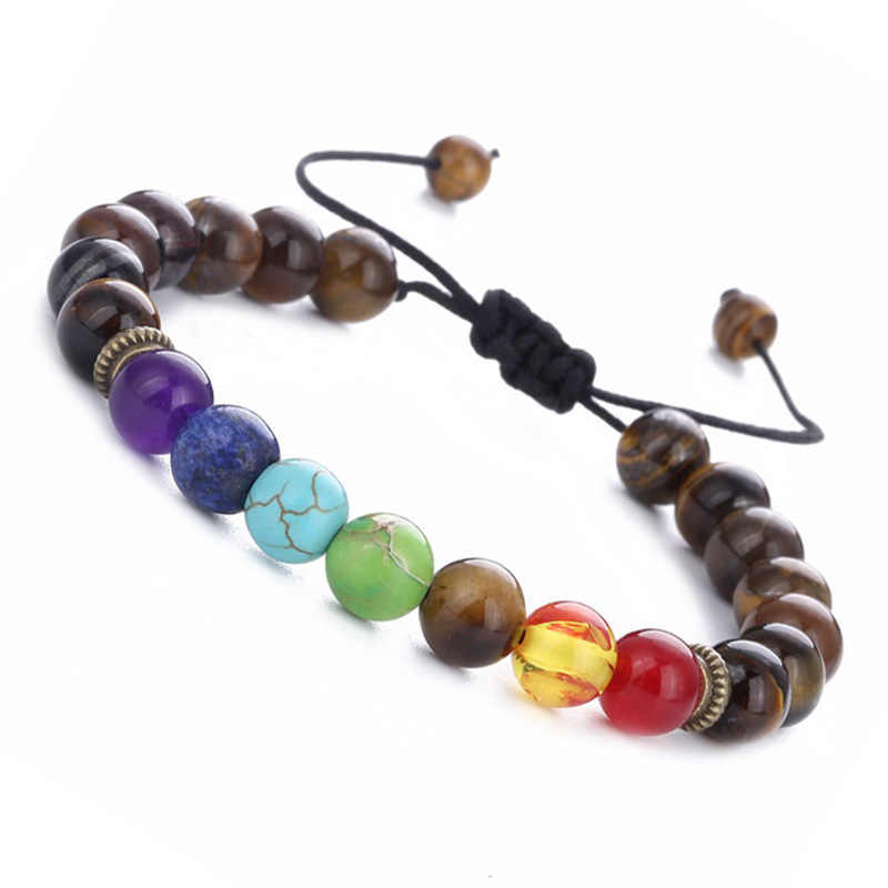Seven chakra energy stone bracelet natural tiger eye adjustable braid yoga wheel bracelet beaded bracelet