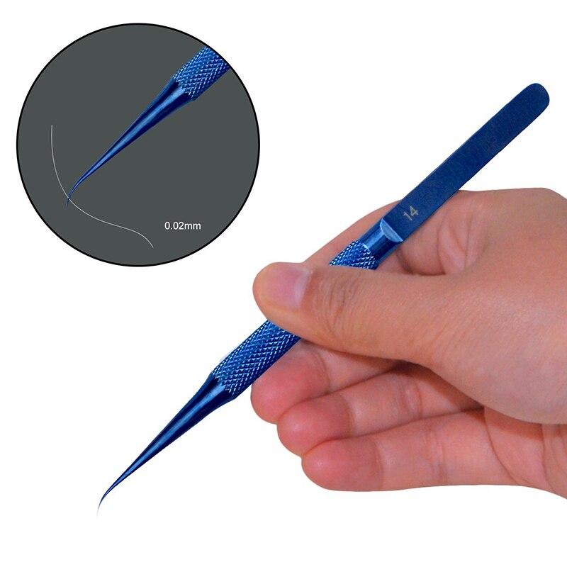 Anti-magnetico di Titanio Microsurgical Etero Curvo Pinzette Anti-corrosione con 0.02mm Fine Tip Nipper Strumento di Riparazione Manutenzione