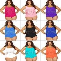 L 5XL Hot Sale Plus Size Bikini Set Women Swimwear Sexy Tassel High Waist Swimsuit Female