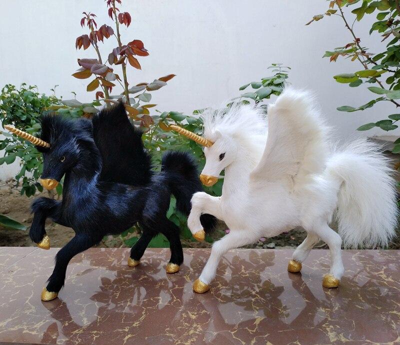 Grand 25x22 cm simulation licorne modèle dur en plastique et fourrures licorne ouverture ailes prop, décoration de la maison jouet cadeau s2279