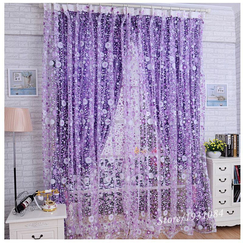 Pastoral Purple Sheer Curtain For Living Room Windows Tulle The Bedroom Home Decor Drapes Lace Organza Cortinas 1Pcs In Curtains From