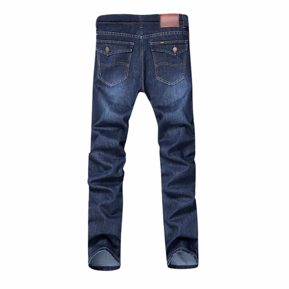 KLV мужские новые осенние джинсовые хлопковые свободные рабочие Длинные прямые повседневные брюки повседневные однотонные джинсы высокого качества 20190306
