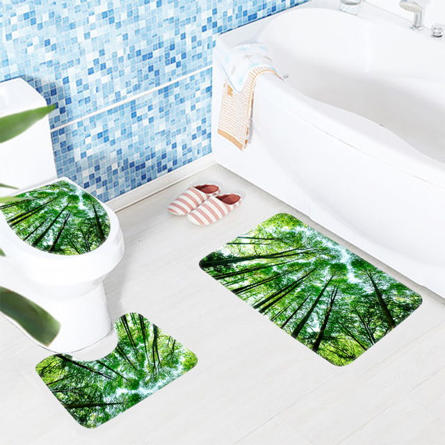 3pcs Bathroom Mat Set Green Forest Trees Pattern Bath Mat Non Slip ...