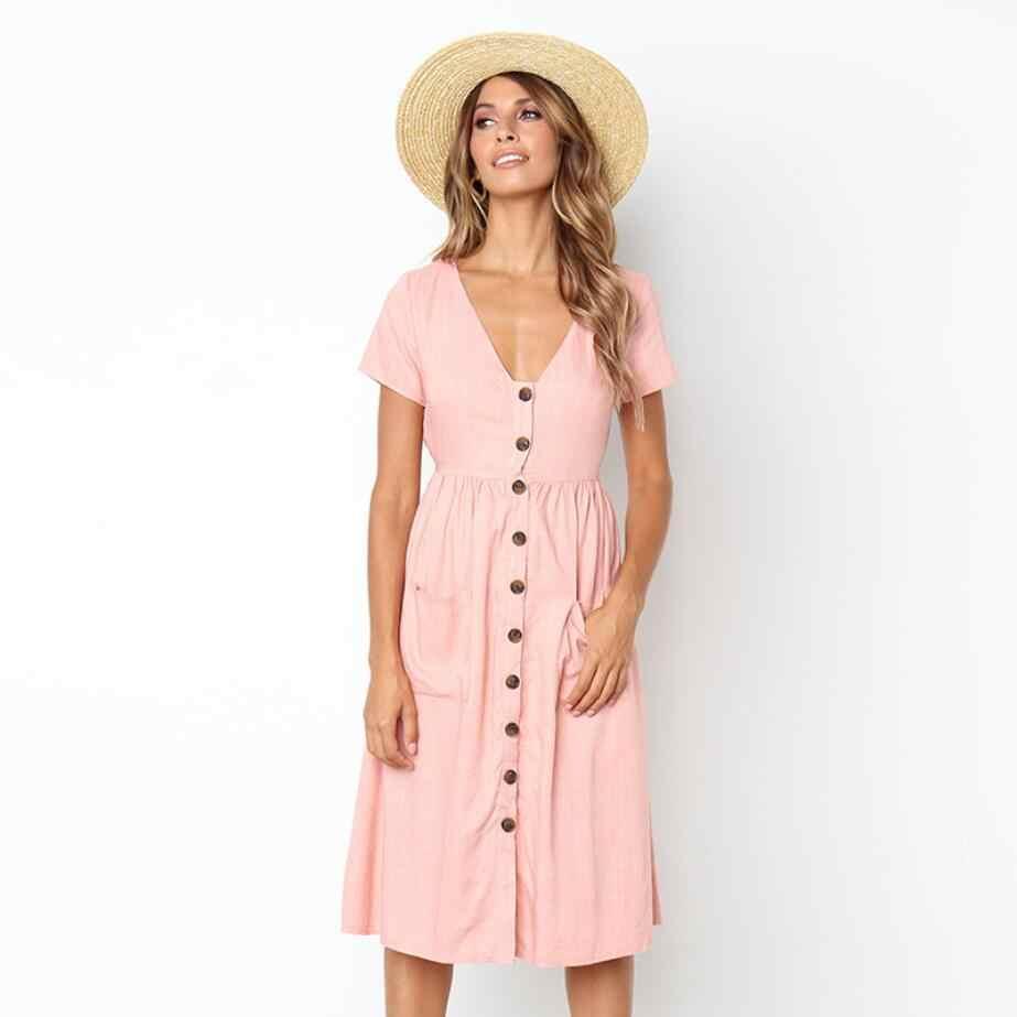 Women/'s Button V Neck Swing Dress Summer Beach Short Sleeve Pocket Midi Sundress
