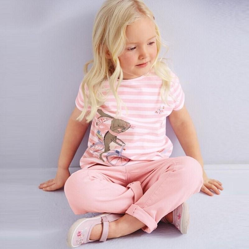17 New Little Maven 1-6 Years Girls T-shirt Short Sleeve Animal Printing Children Tees Rabbit Cat Printing Kids Tops KF046-1 2