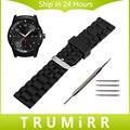 22 мм Силиконовой Резины Ремешок + Инструмент для LG G Watch W100/R W110/Вежливый W150 Запястье Смолы Замена Ремня Браслет Черный