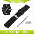 22mm Silicone Rubber Strap + Tool for LG G Watch W100 / R W110 / Urbane W150 Wrist Band Resin Belt Replacement Bracelet Black