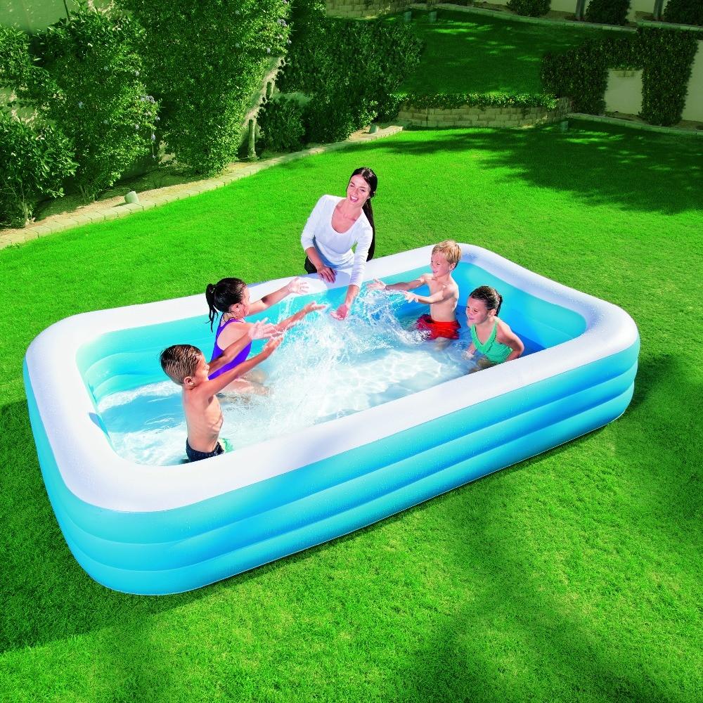 Large Paddling Pool Rectangular Inflatable Family Swimming Kids Fun Garden Patio