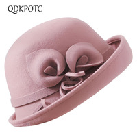 QDKPOTC 2018 Winter Retro 100%Wool Fedoras Hats Women Felt Hat Cap Ladies Crimping Floral Dome Top Hat Elegant Church Hats