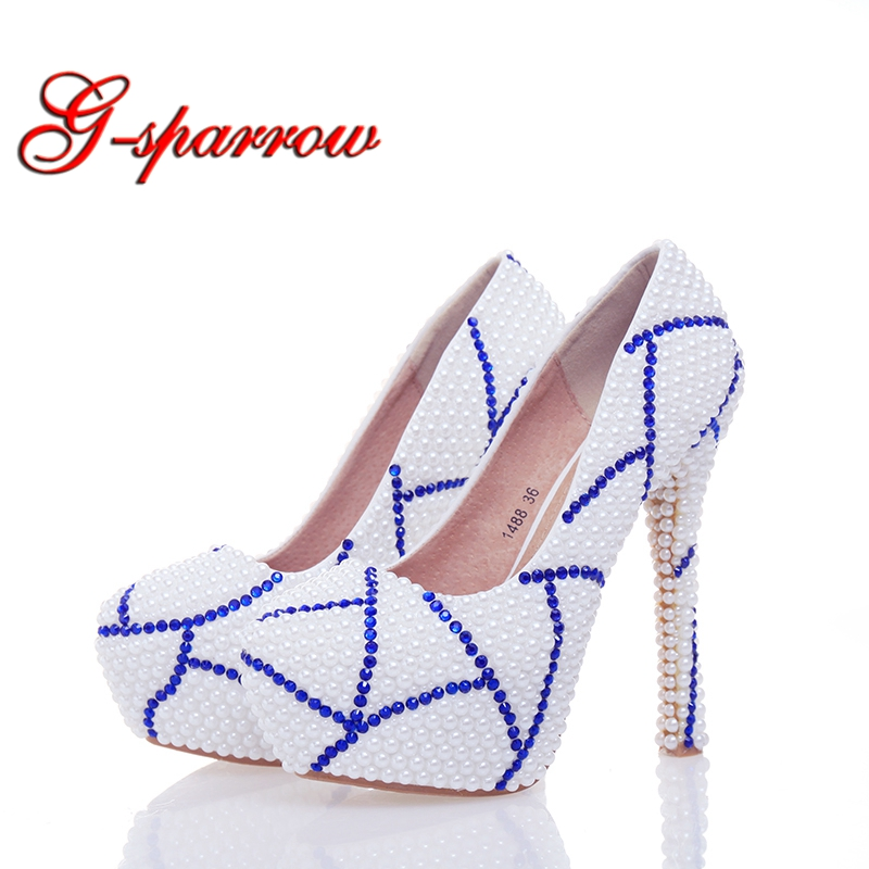 White Pearl Blue Rhinestone Bridal Wedding Shoes Elegant Women High Heels Mother of the Bride Shoes Plus Size Special Design white pearl mother of the bride shoes with red bowtie wedding party prom high heels cinderella event shoes bridal pumps