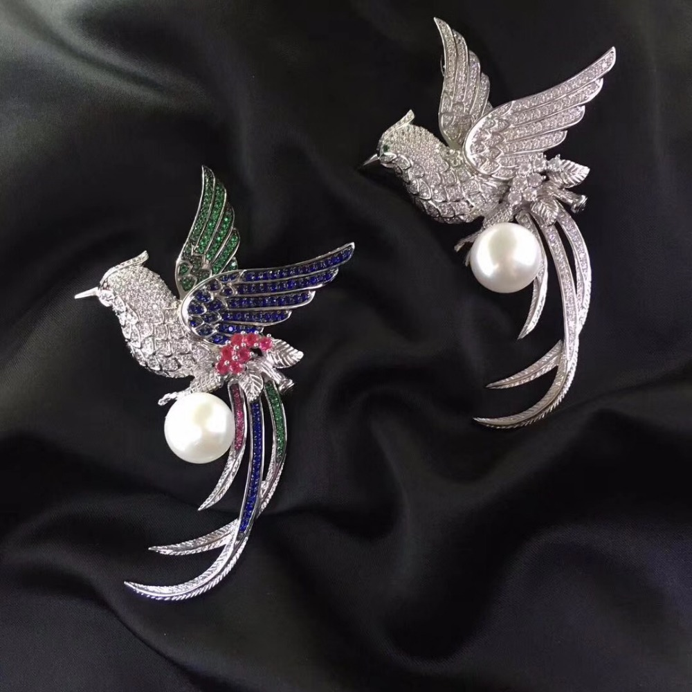 about 12MM natural fresh water pearl brooch pins 925 sterling silver with cubic zircon phoenix brooch pendant double use unisex 11 12mm natural fresh water pearl brooch pins 925 sterling silver with cubic zircon parrot brooch pins multi color