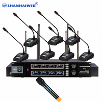 China Professional UHF 8 Channels Flexible Stand Desktop Conference Speech Table Microphone with handheld mic Room Sound System