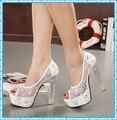 Sexy chucky dedo aberto sandálias plataforma bombas bombas de cristal de salto alto Sapatos Femininos Sapatos de casamento D139