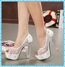 Sexy shoes chucky open toe Platform pumps women High Heels Crystal pumps lace Women sandals Sapatos