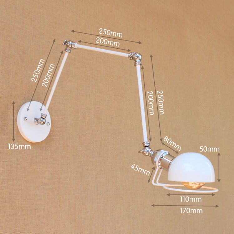 Image 3 - Swing Long Arm Wall Lamp Retro Loft Style Vintage Industrial Lighting Fixtures Wandlamp Edison Wall Sconces Applique Light Pared-in Wall Lamps from Lights & Lighting