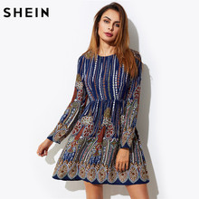 Шеин Ornate Print Smock Dress осень 2017 Повседневное Платья многоцветный Племенной печати с длинным рукавом по колено платье трапециевидной формы