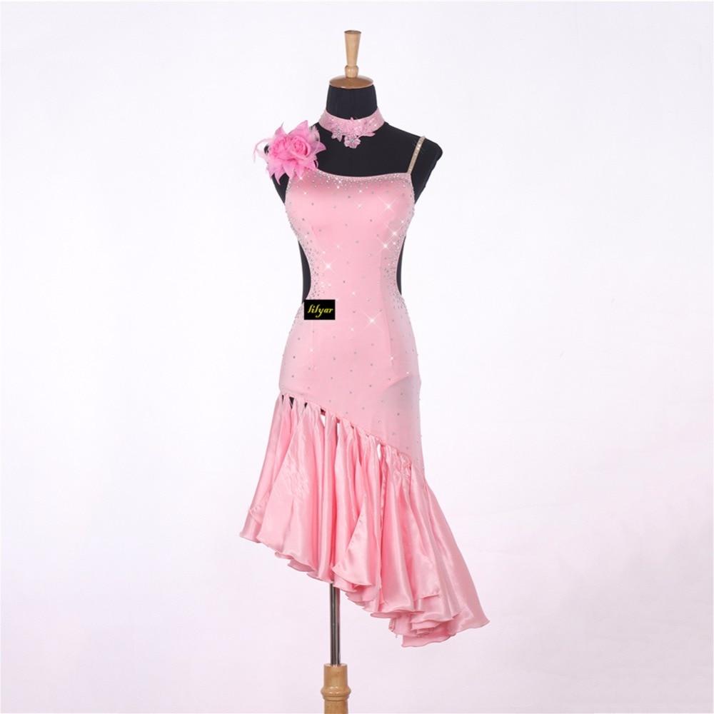 Sexy Lady Latin Dancing Dresses Pink Nice Quality Rhinestone Fashion Women Adult Professional Tango Ballroom Dancing Skirts 1047
