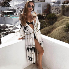 Women Sexy New Arrival Beach Cover up Embroidery Vintage Swimwear Ladies Tunics Kaftan Beach Dress Beach Wear Women Robe de Plag