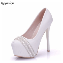 Women Wedding Pearl Shoes Crystal Bridal Party White Pumps 14cm Super High Heel Round Toe Platform Shoes Sexy Lady XY-A0061