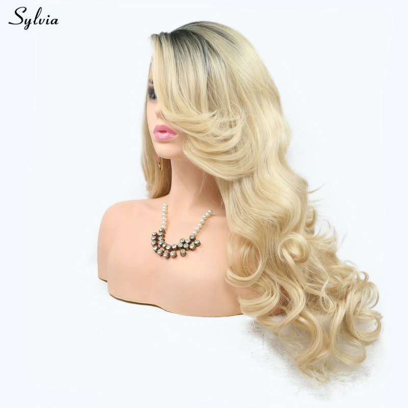 Sylvia High Temperature Fiber New Blonde Wavy Wig Dark Roots to Gold Color Long Synthetic Lace