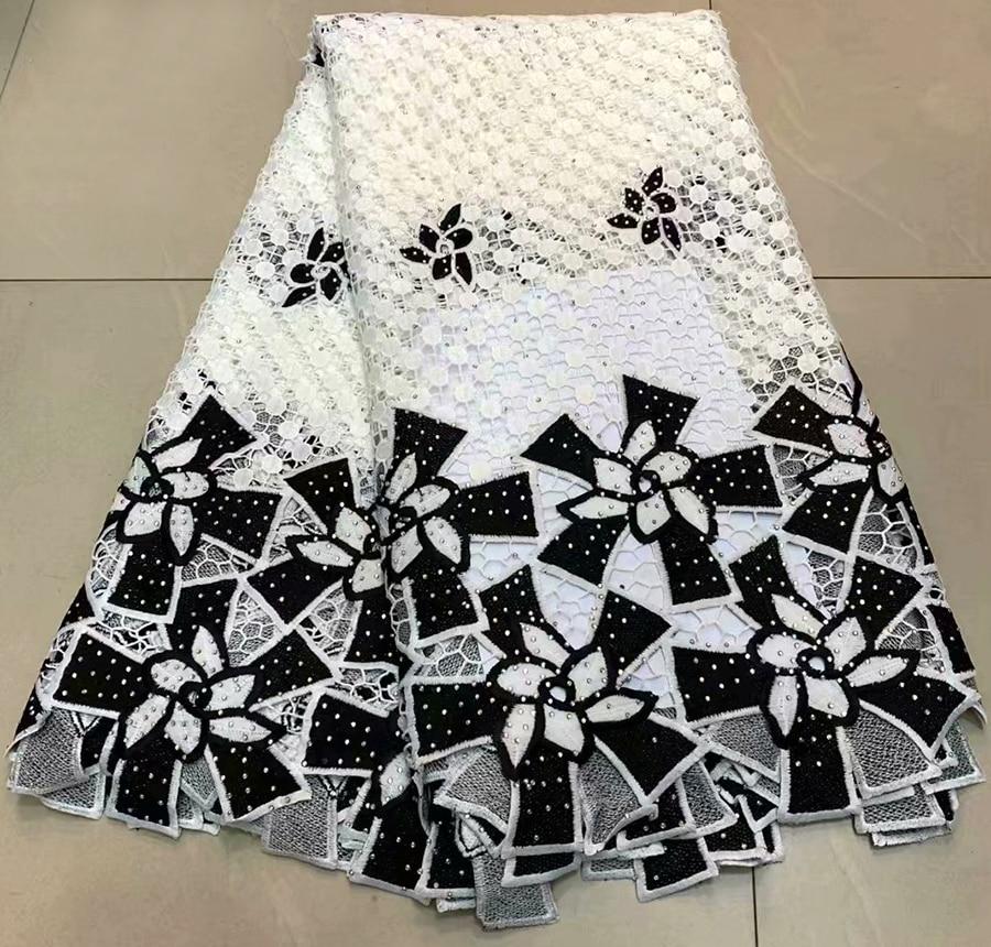 뜨거운 판매 화이트 + 블랙 프랑스어 guipure 레이스 원단 아프리카 tulle 레이스 원단 5 야드 코드 레이스 원단 드레스와 돌-에서레이스부터 홈 & 가든 의  그룹 1