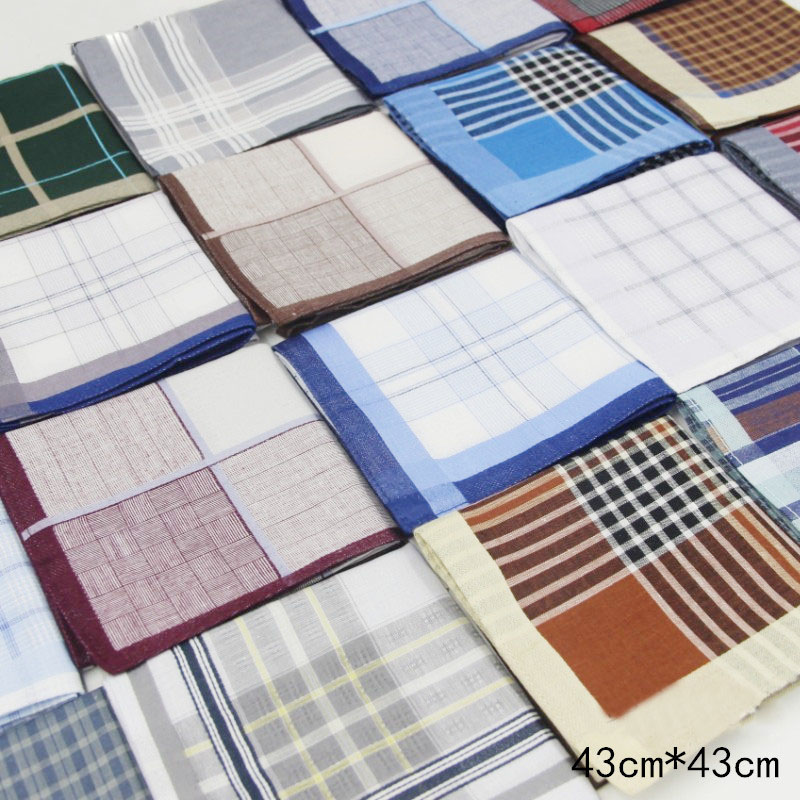 3Pcs/lot High Quality Handkerchiefs Unisex Plaid Kerchief 100% Cotton Tartan Handkerchief