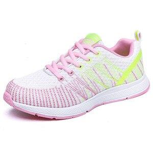Image 4 - Mulher correndo sapatos de ginásio 2020 tênis esporte respirável chaussures femme cesta rendas até zapatillas mujer calzado luz