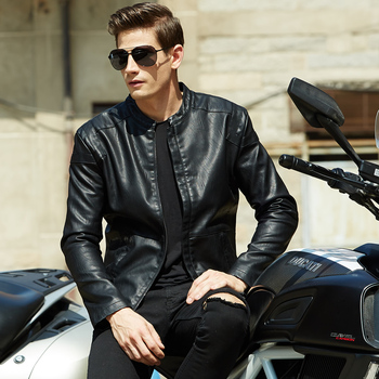 2018  Spring Jacket New Fashion Leather Clothing Stand collar coat  Korean Slim Leather Jacket Men's Collar Leather Men's