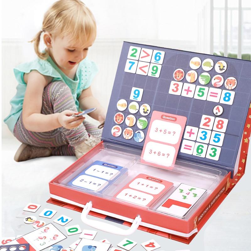 Juguete magnético Montessori de matemáticas aritmética adicional resta juego de rompecabezas de matemáticas juguetes educativos enseñanza conteo ayuda regalo
