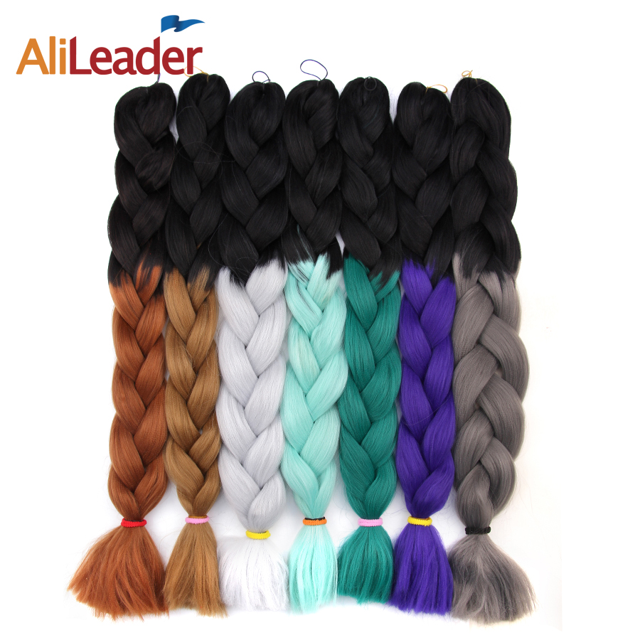 AliLeader 100Pcs Xpressions Kanekalon Braiding Hair Red White Blue Purple Ombre Crochet Braids Synthetic Hair Weave 30 Inch 165G