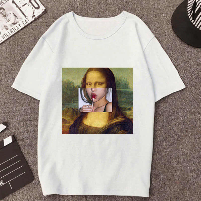 Summer 2019 Mona Lisa polo shirt Women spoof personality Harajuku aesthetics Funny Thin Section White Tops Female polo shirt