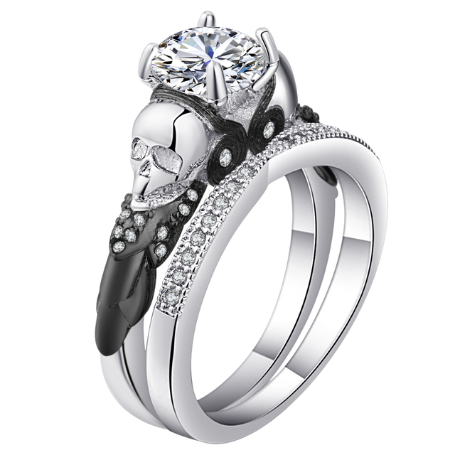 Skull Ring Sets Rhodium Plated Clear Cz Crystal Women S Wedding Promise Punk Female Finger