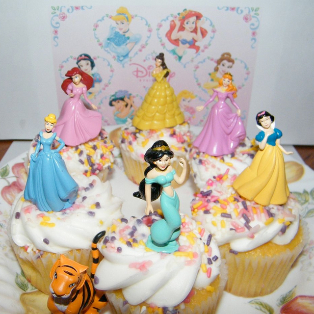 Princesses Toys Cake Topper For Gril Birthday 5pcs Snow White Elsa Ariel Bella Tinker Bell Pvc
