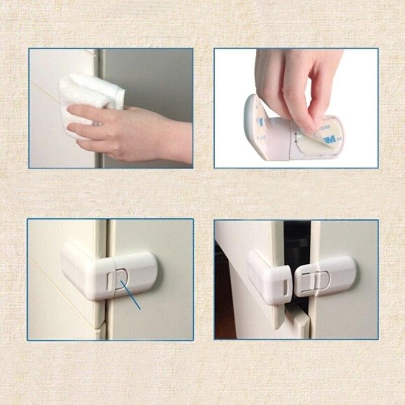 5pcs Baby Security Lock Finger Guard Child Safety For Children Door Stopper Furniture Corner Plastic Protector Safe Cabinet Lock