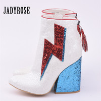 Jady Rose Glistening Glitter Ankle Boots for Women Lightning Decor Chunky High Heel Boots Fringed Back Zip Bota Feminina