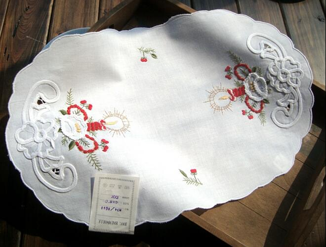 HOT White lace cotton table place mat pad Embroidery round placemat cup mug holder coaster doilies kids happy kitchen tableware