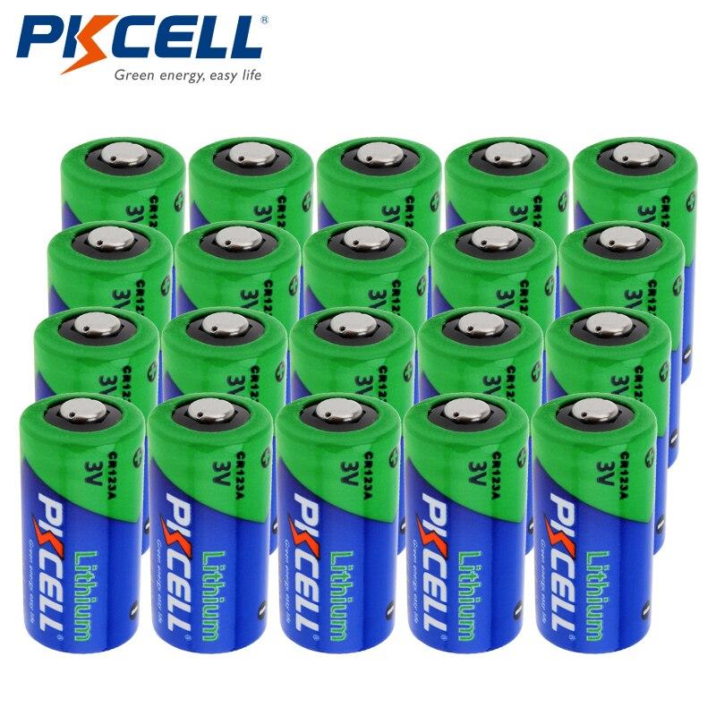 20pcs PKCELL CR123A CR123 CR 123 123A 16340 CR17345 17345 1500mAh 3V Lithium Photo Battery