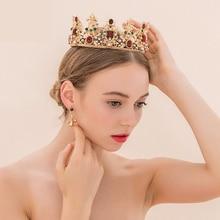King queen barroco corona y pendientes del rhinestone rojo novia tiaras coronas de oro de la boda joyería nupcial del pelo de las mujeres accesorios