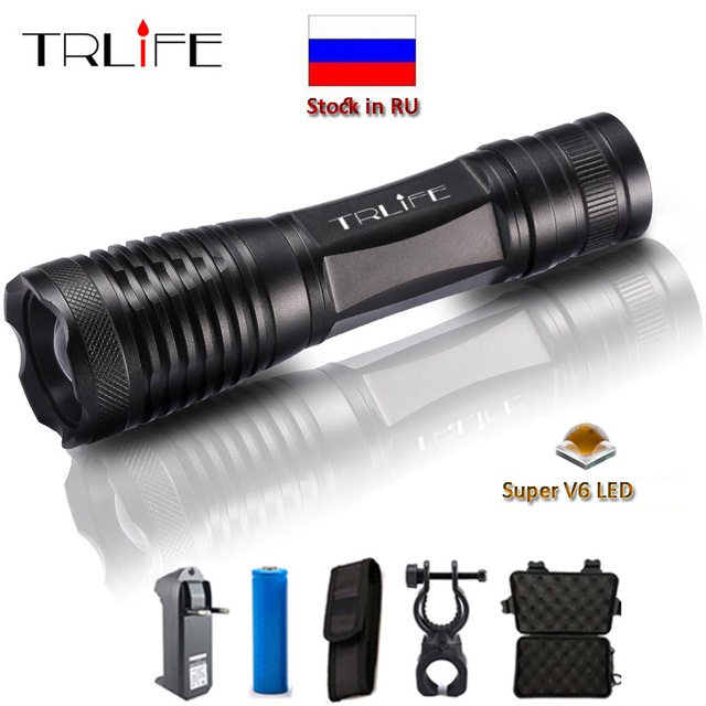 10000 Lumens LED Flashlight Zoomable/Adjustable Lamp LED Torch V6 T6 L2 Tactical Camping Light Lanterna 18650 Battery Charger bike light 3800lm t6 led flashlight tactical flashlight led torch lamp light 18650 battery charger holder hiking camping